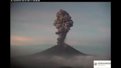 Photo of Expulsa Popocatépetl fumarola de más de 4 km de altura