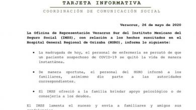 Photo of IMSS envía pésame tras suicidio de paciente con Covod-19 en Orizaba